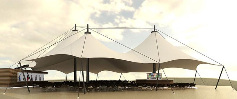 Мембранная конструкция летней площадки Tenter