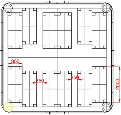 План размещения коек кроватей в надувной модульной пневмокаркасной палатке TENTER ПКПМ-29