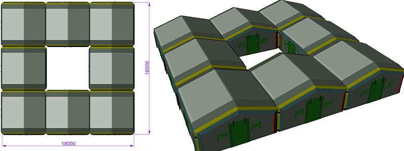 Пример конфигурации модульных пневмокаркасных палаток в мобильный быстровозводимый палаточный городок TENTER квадрат