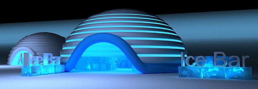 Надувное пневмокаркасное здание площадью 90 м² Ice Bar от дизайнеров TENTER