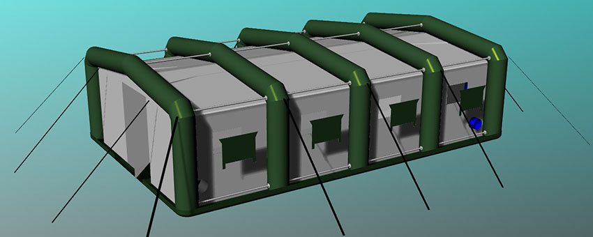 Конструкция палатки надувной с пневмо-металлическим каркасом TENTER HFT-60-104 по стандартам НАТО. Без тента.