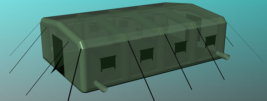 Палатка надувная универсальная с пневмо-металлическим каркасом TENTER HFT-60-104 по стандартам НАТО. Общий вид.
