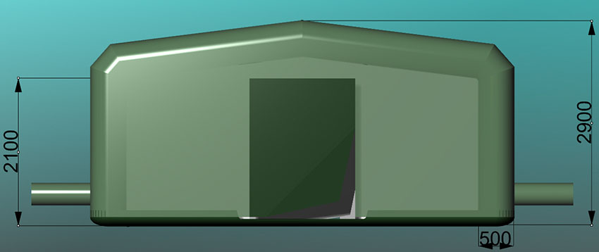 Палатка надувная с пневмо-металлическим каркасом ППМК-425N по стандартам НАТО. Вид спереди