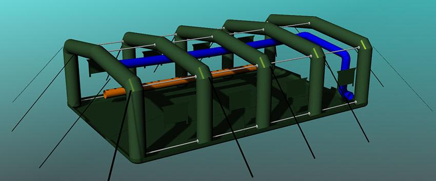 Пневмо-металлический каркас надувной универсальной палатки TENTER HFT-60-104 по стандартам НАТО