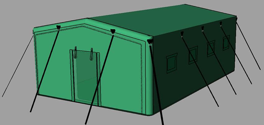 Пневмокаркасная надувная универсальная палатка TENTER ПКП-44N по стандартам НАТО. Общий вид
