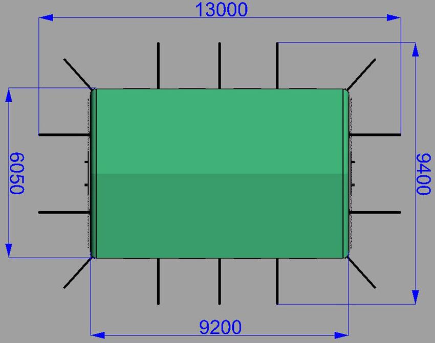 Размеры пневмокаркасной надувной универсальной палатки TENTER ПКП-44N по стандартам НАТО