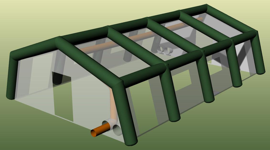 Конструкция надувной пневмокаркасной палатки TENTER ПКП-96NT
