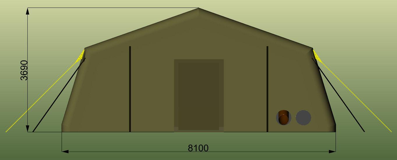 Надувная пневмокаркасная палатка TENTER ПКП-96NT по стандартам НАТО совместимая с американской стандартной палаткой  TEMPER. Вид с торца