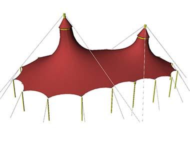 Мембранные вантовые шатровые конструкции