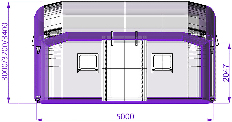 Модульная надувная пневмокаркасная палатка TENTER ПКПМ-36 вид сбоку