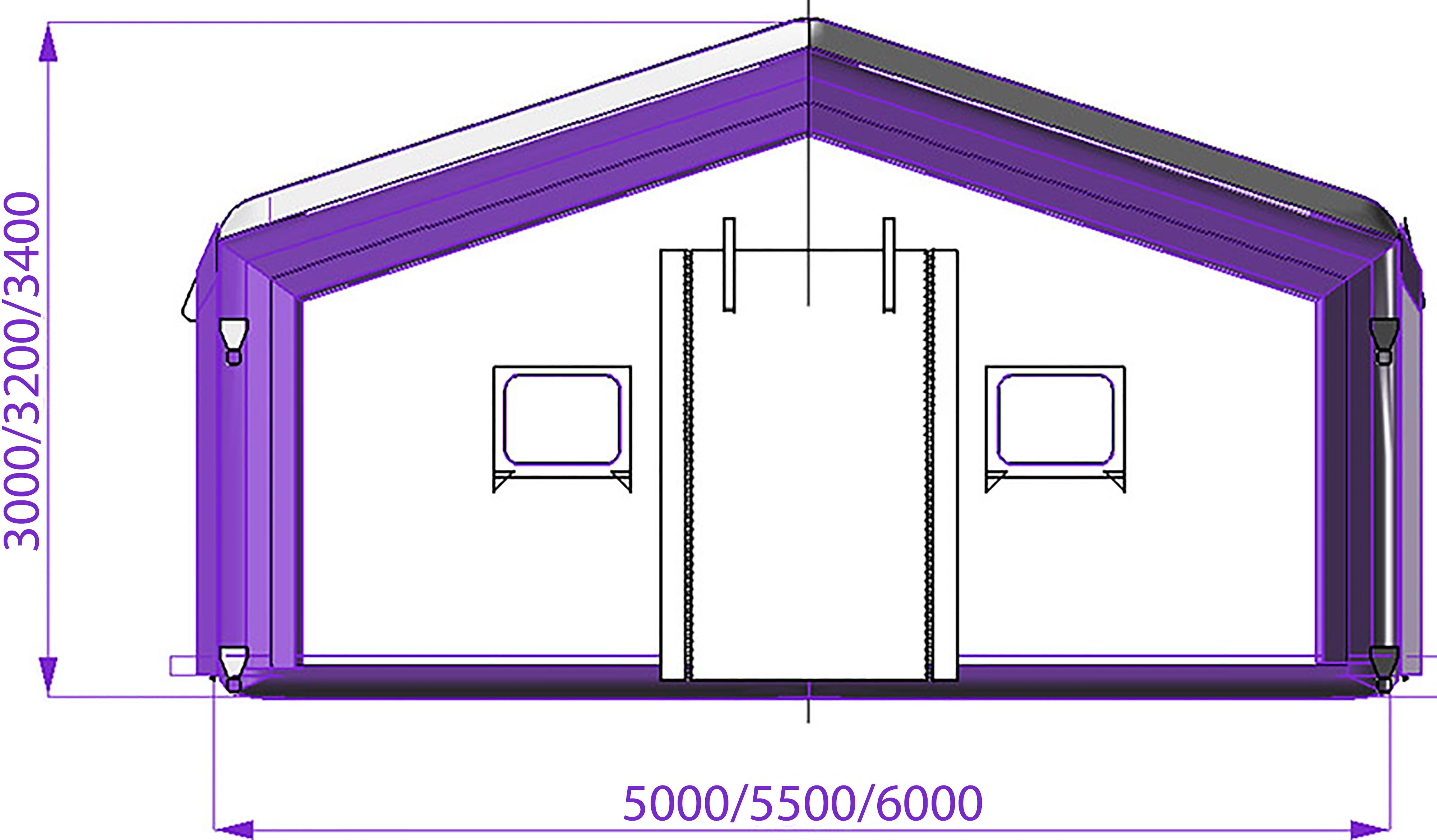 Модульная надувная пневмокаркасная палатка TENTER ПКПМ-36 вид торец
