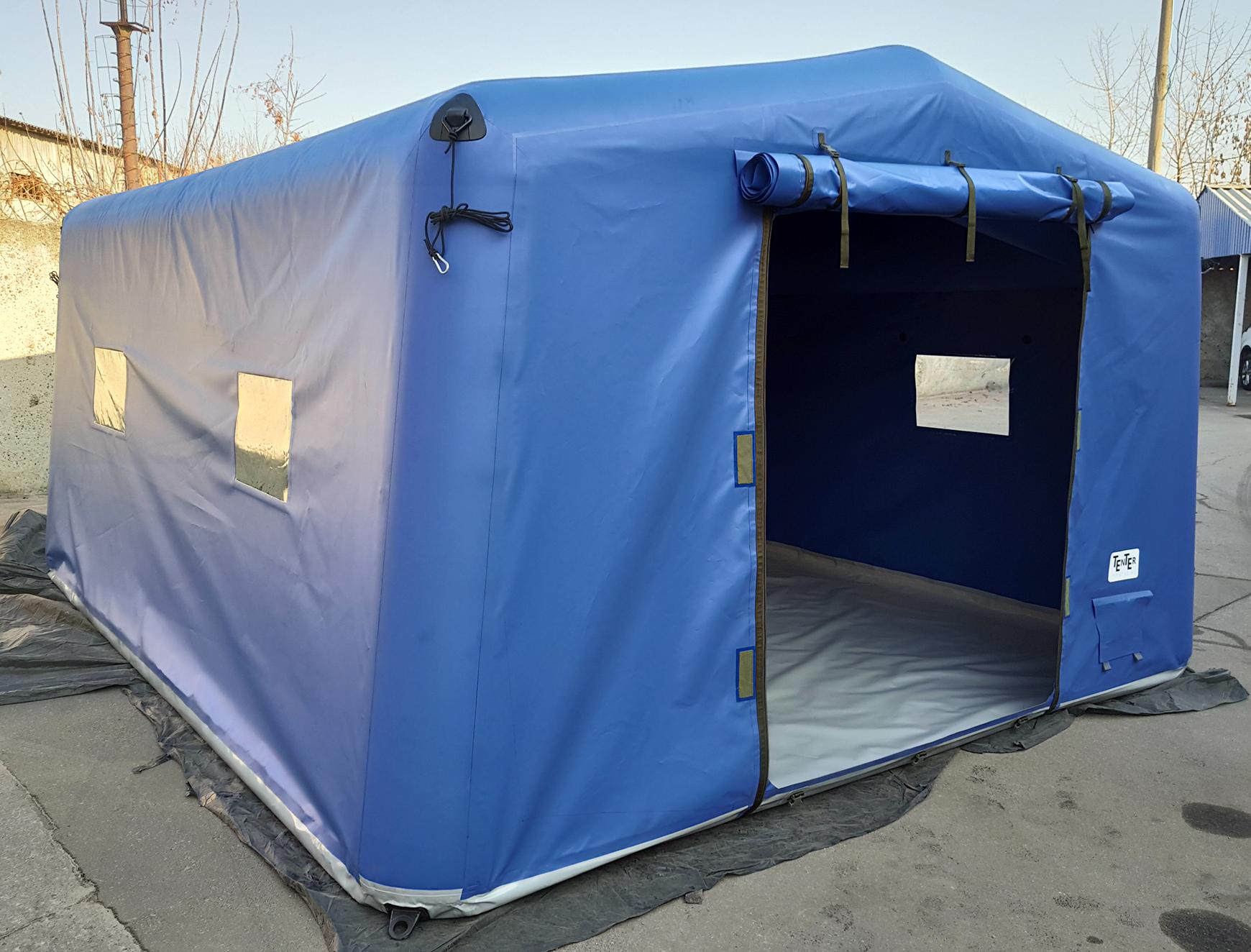 Бюджетная надувная палатка для гуманитарных операций