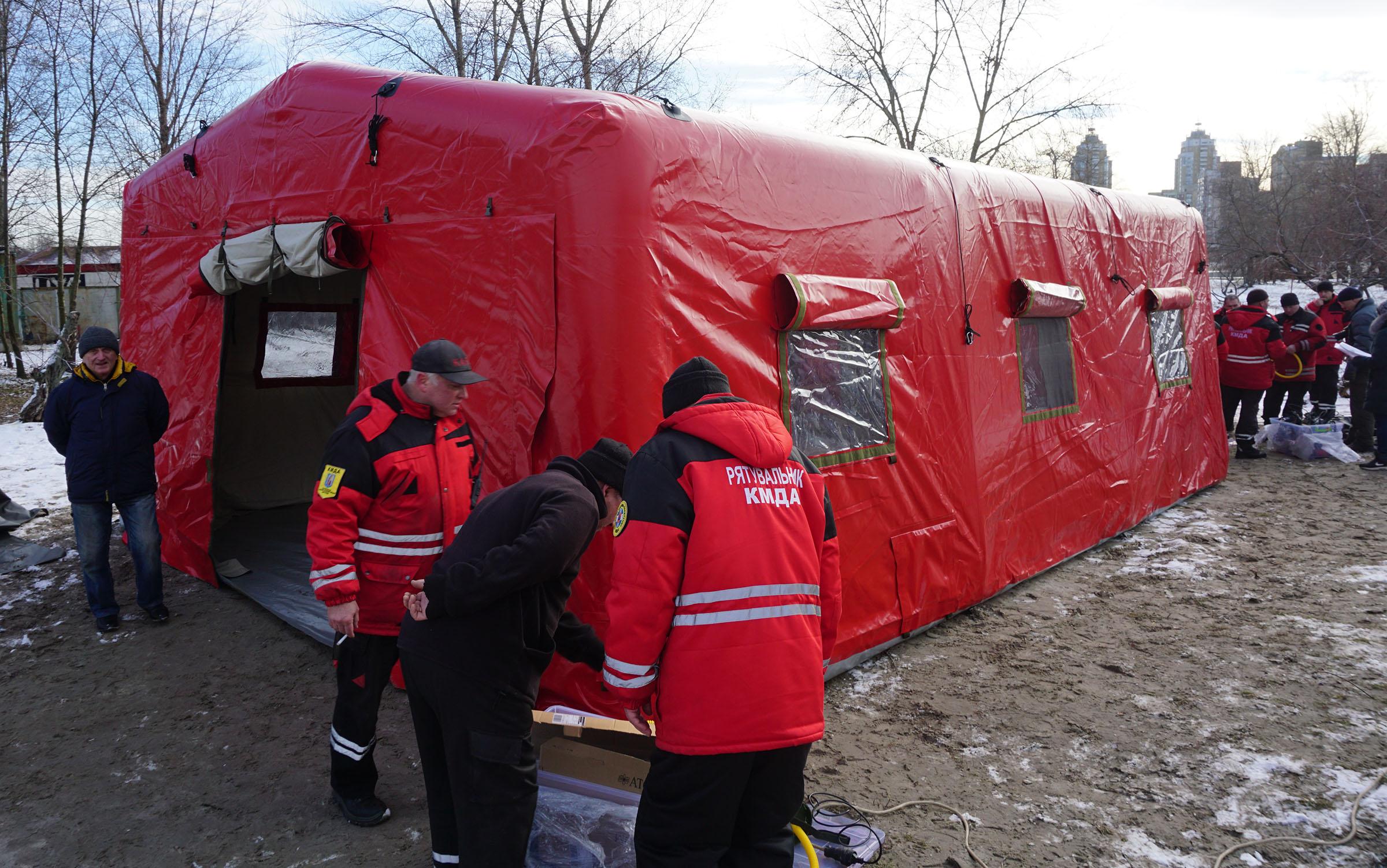 Надувная пневмокаркасная палатка для спасателей КМДА TENTER AFT-55-80